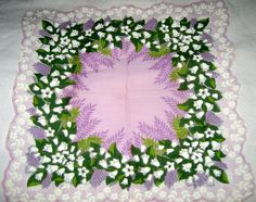 Vintage 40s cotton handkerchief lily of the valley purple white green