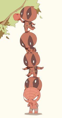 Spideypool167 by LKiKAi on DeviantArt Chibi Marvel, Marvel Funny, Marvel Dc Comics, Marvel Heroes, Marvel Avengers, Spideypool, Superfamily, Deadpool X Spiderman, Baby Avengers