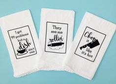 Set of 3 flour sack dish towels - The set comes wrapped in a plastic sleeve, perfect for gift giving - Safe for machine washing and drying - I do have other designs available and can mix and match sets; please contact me if interested  ★ These make great gifts for Mothers Day, Christmas, birthdays, housewarming, bridal showers, weddings, office parties, holiday parties, etc!  ★ If youd like to mix and match towels from different sets, please visit this link…