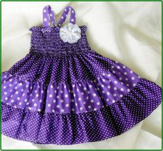 Purple and white polka-dot dress for by CandyDressShop on Etsy- custom order 0-3