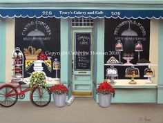 Personalized print like the Caitlins Cakery and Cafe print with the name of your choice on the sign. Bright and early Monday through Friday,