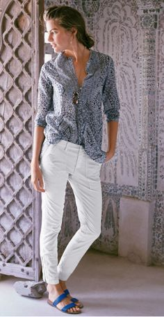 comfy blouse, white jeans and sandals- perfect summer wear. J.Crew