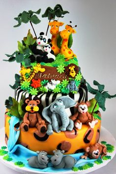 Zoo Birthday Cake Ideas Www.ibirthdaycake/zoo-Birthday with Safari Cake Designs - Cake Design Ideas Zoo Birthday Cake, Animal Birthday Cakes, Jungle Theme Cakes, Safari Cakes, Zoo Animal Cakes, Animal Cakes For Kids, Unique Baby Shower Cakes, Zoo Cake, Cupcakes Decorados