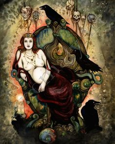 The Morrigan, the supreme war goddess. Queen of phantoms and demons, shape-shifter. Often takes the shape of a raven or crow. She is a triple goddess in Ireland