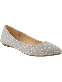 Women's Star-Print Pointed Toe Flats