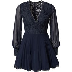 Ax Paris Lace Full Sleeve Skater Dress ($23) ❤ liked on Polyvore featuring dresses, navy, party dresses, womens-fashion, navy blue lace dress, navy lace cocktail dress, long sleeve lace cocktail dress, navy lace dress and blue cocktail dresses