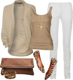 5b35f66ad Playing up neutrals White Skinny Jeans / Tan tank top and cardigan / Animal  print flats