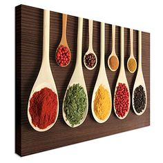 Spices in wooden spoons kitchen art 40x30 inches | Canvas Art Cheap Wall Print - high quality, classic style canvas prints, premium wooden frames Art Okay http://www.amazon.co.uk/dp/B00T0HRZ9I/ref=cm_sw_r_pi_dp_H13Mwb0J4PRFA