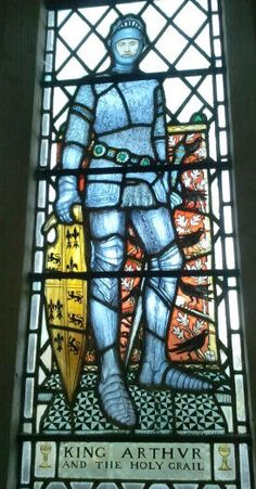 Part of Caroline Townshend and Joan Howson window at St Nectan's Church. King Arthur