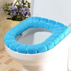 1pc Warm and Comfortable WC Toilet Seat Cover for Bathroom Restroom Products Cotton Pedestal Pan Cushion Pads