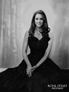 "Portrait of a Queen "" Future Queen Catherine poses for an official portrait, wearing a ruffled black strapless gown and the Nizam of Hyderabad diamond necklace. Kate is wearing her hair down and..."