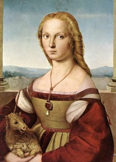 Raphael Sanzio - Lady With a Unicorn  Raffaello Sanzio da Urbino, better known simply as Raphael, was an Italian painter and architect of the High Renaissance, celebrated for the perfection and grace of his paintings and drawings. Together with Michelangelo and Leonardo da Vinci, he forms the traditional trinity of great masters of that period.