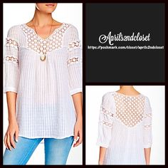 """❗️1-HOUR SALE❗️White Tunic Crochet Lace Top BOHO TUNIC Crochet Top  New WithTags   * V-neck front w/crochet yoke detail. * 3/4 length sleeves w/banded cuffs * Embroidered yoke & sleeve trim. * Textured fabric.  * Subtle Hi-Lo hem  * About 30""""  * 100% cotton.   * Color: White  No Trades ✅ Offers Considered*/Bundle Discounts✅ *Please use the blue 'offer' button to submit an offer. Monoreno Tops"""