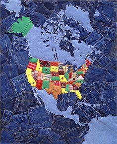 "Margaret Cusak, ""Wrangler Map"". #artquilt #fiber"