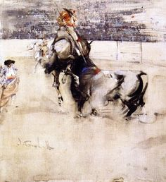 The Bullfight by JOSEPH CRAWHALL, R.S.W. (1861 - 1913)