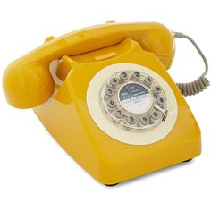 ModCloth 50s Ring True Desk Phone ($60) ❤ liked on Polyvore featuring fillers, home, phones, telephone, yellow, tech and home accessory