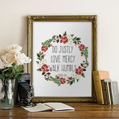 Printable verses Wall art decoration Do justly by PrintableVerses