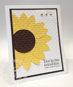 handmade card... uses Stampin' Up! blossom petals punch, big shot die cutting machine, and square lattice embossing folder .... embossing to embed the die cut pieces ... like the quilt-like appearance and off-the-side placement of the sunflower ...