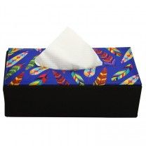 Tropical Feathers Blue Soft Tissue Box by The Elephant Company