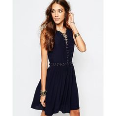 First & I Eyelet Detail Tie Up Dress (€42) ❤ liked on Polyvore featuring dresses, navy, white eyelet dress, eyelet dress, laced dress, white tie dress and tie dress