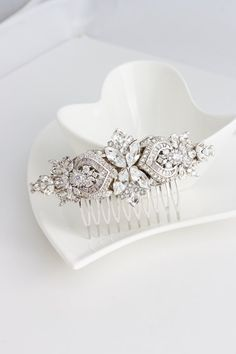 Bridal Comb Crystal Hair Comb Rhinestone Headpiece Wedding Hair Accessories Swarovski Veil Clip EVIE DELUXE