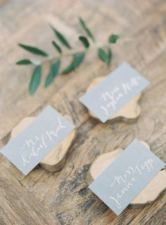 Cotton Blossom Calligraphy | Escort cards on Olive Wood | Magnolia Rouge + Jen Huang + Fleuriste on Grey Likes New Zealand Auckland Wedding Garden Inspiration
