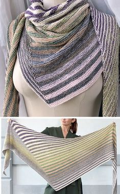 Free Knitting Pattern for Easy Shifting Stripes Shawl - Asymmetric triangular sh. - knitting wrap , Free Knitting Pattern for Easy Shifting Stripes Shawl - Asymmetric triangular sh. Free Knitting Pattern for Easy Shifting Stripes Shawl - Asymmetric. Baby Knitting Patterns, Crochet Poncho Patterns, Knitted Shawls, Crochet Shawl, Knitting Stitches, Cowl Patterns, Knitting Ideas, Knitting Designs, Crochet Ideas