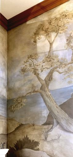 Powder room Woodland mural painting in semi-mono-chrome palette