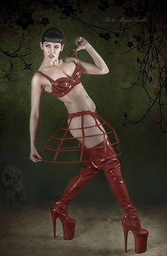 Bad wolf! A little red riding hood for Halloween! Image by Megan Garth Skirt by Atelier Sylphe Boots by Pleaser USA, Inc. #Latex bra by Westward Bound Model #roshiemodelhttp://www.ateliersylphecorseterie.com/