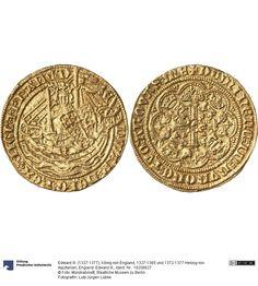 England: Edward III. Münze Edward III. (1327-1377), König von England, 1327-1365 und 1372-1377 Herzog von Aquitanien, Königtum, Münzherr 1351-1361 Land: Großbritannien (Land) Region: England (Region) Münzstätte/Ausgabeort: London Fundort: Deutschland (Land) Fundort: Köln (Ort) Nominal: 1/2 Noble, Material: Gold, Druckverfahren: geprägt Gewicht: 3,83 g Durchmesser: 27 mm