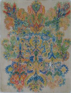 Paisley (Cat?) | coloured pencil on paper | LOUIS WAIN