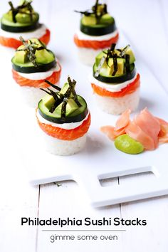 Philadelphia Sushi Stacks | Looks yummy enough to overlook that it's a post sponsored by a cream cheese