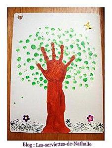 arbre main empreinte printemps activité manuelle