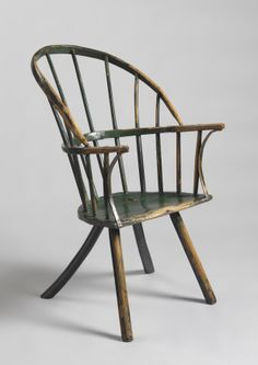 Robert Young Antiques - Collection. Exceptional Early Primitive Sack Back Windsor Armchair,With Out Swept Bentwood Rear Legs and Well Raked Back,Ash and Elm Retaining Much of the Original Green Painted Surface, English, probably West Country, c1750. #FolkArt