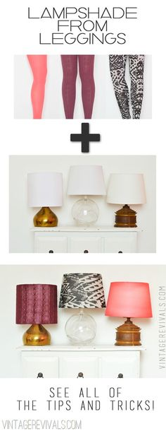 Upcycled Old Leggings Into Beautiful Lampshades If you are fun of creative recycling, you will love this unusual DIY idea found at Vintage Revivals website, that show you how you can convert and old. Diy Projects To Try, Home Projects, Home Crafts, Diy Home Decor, Easy Crafts, Diy Luz, Diy Luminaire, Diys, Diy Inspiration