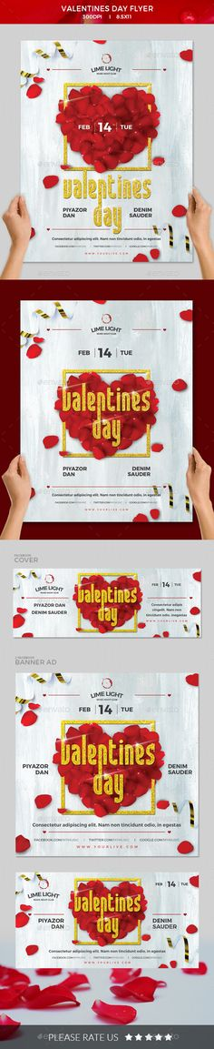 #Valentines Day #Flyer - Clubs & Parties Events Download here:  https://graphicriver.net/item/valentines-day-flyer/19374627?ref=alena994