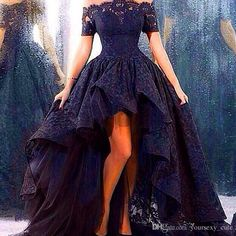 2015 Vintage Black Evening Dresses A Line Off Shoulder Short Sleeve High Low Lace Arabic Prom Gowns