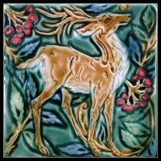 Medieval Deer in Rowan. Art tile by Verdant Tile