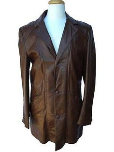 643ce522e86 Vintage Retro 1970s SEARS Brown Leather Trench Style Coat Jacket Size 38  Tall Trench