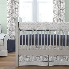 Navy and Gray Woodland Crib Bedding | Carousel Designs