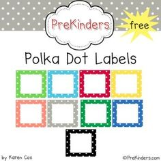 A set of free printable polka dot labels for your classroom. Labels come in 10 colors plus a set of bold black dots. Note: This is a Zip file c...