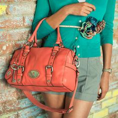 Love this color for spring! Bag may be a little too big ! Fossil Handbags, Fossil Bags, Fossil Satchel, Ladies Purse, Beautiful Bags, Purses And Handbags, Passion For Fashion, Fashion Accessories, Flower Belt
