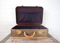 Vintage Moss Green and Plum Suitcase - Gray and Purple Luggage - Display Antique Photo Prop
