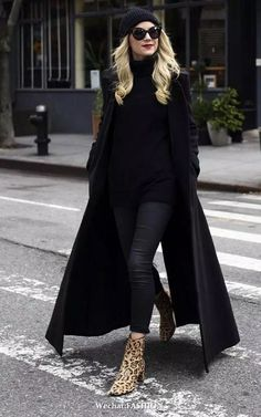 ab48e3f01d58ce Black sweater top + black skinny Jean s + leopard print booties Leopard  Shoes