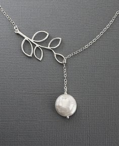 Silver Lariat Necklace Y Necklace Branch and di MenuetDesigns
