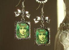 Absinthe Earrings:La Fee Verte-Green Fairy Altered Art Earrings