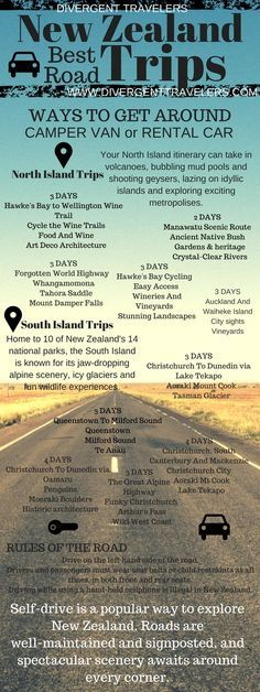 New Zealand Best Road Trips. Self-drive road trips are a popular way to explore New Zealand. Spectacular scenery awaits around every corner. We spent 5 weeks traveling all over the North and South islands. It was one of our most memorable trips to date. Click to read more about the adventures at http://www.divergenttravelers.com/destinations/new-zealand/
