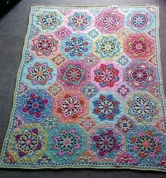Eastern Jewels colourway of Jane Crow's Persian Tiles crochet pattern