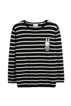 Miffy Stripe Badge Navy Cashmere Sweater | Chinti and Parker