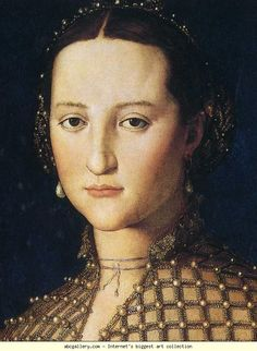 Agnolo Bronzino. Portrait of Eleonora of Toledo as a Young Woman. Detail. 1543. Oil on panel. 59 x 46 cm. Narodni Gallery, Prague, Czech Republic.